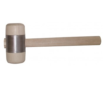 STUBAI Round 50mm Wooden Hammer with metal ring jacket